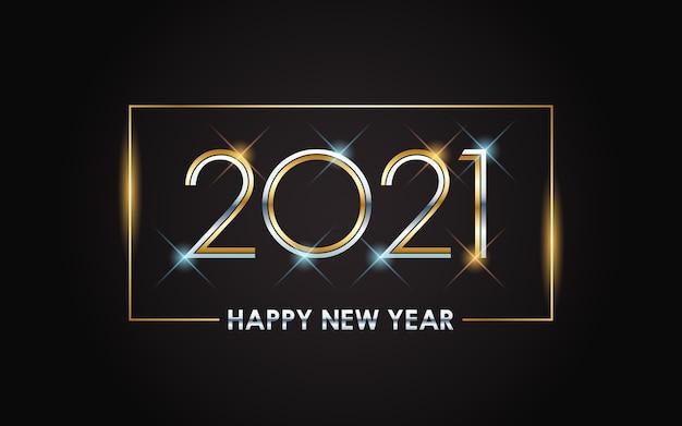 Złoty szczęśliwego nowego roku 2021 z błyszczącym światłem