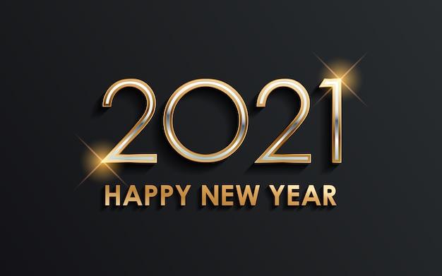 Złoty szczęśliwego nowego roku 2021 ze świecącym światłem