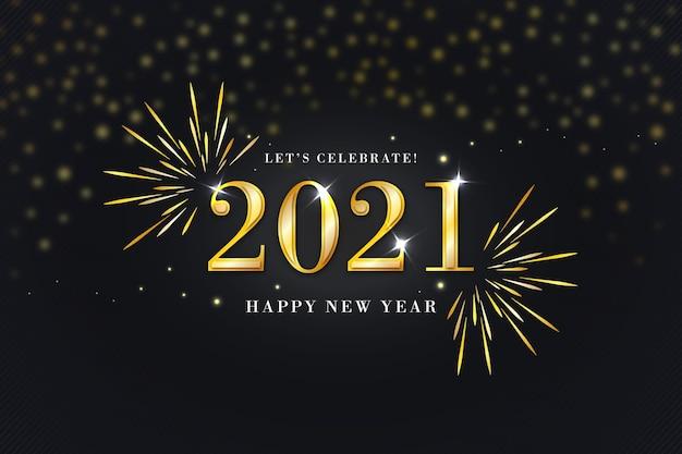 Złoty szczęśliwego nowego roku 2021