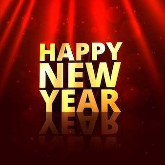 Złoty szczęśliwy nowy rok w czerwonym tle
