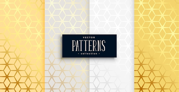 Złoty sześciokątny wzór geometryczny zestaw czterech