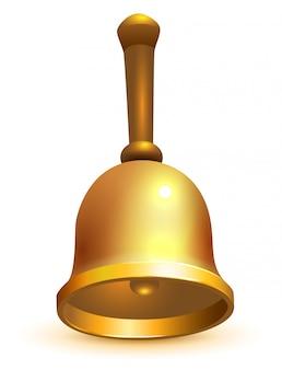 Złoty szkolny retro dzwon odizolowywający na bielu
