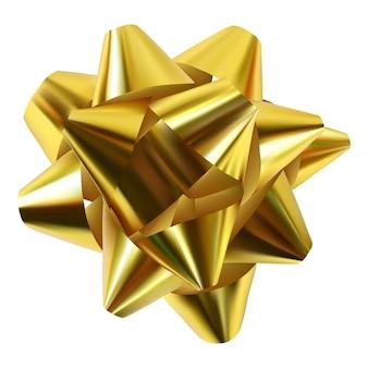 Złoty tasiemkowy prezenta łęk odizolowywający