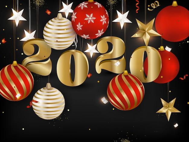 Złoty tekst 2020 szczęśliwego nowego roku. święta banery z bombki, serpentyn, złote gwiazdki 3d, konfetti na ciemnym tle.