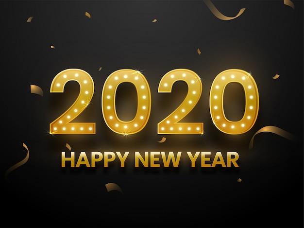 Złoty tekst 2020 z lampkami na czarnym tle na kartkę z życzeniami szczęśliwego nowego roku.