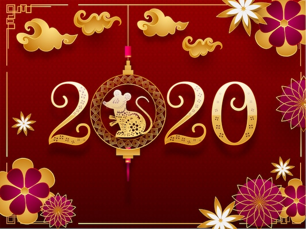Złoty tekst 2020 z wiszącym znakiem zodiaku szczura, kwiatami ciętymi w papierze i chmurami ozdobionymi czerwonym bezszwowym wzorem geometrycznym na obchody happy chinese new year.
