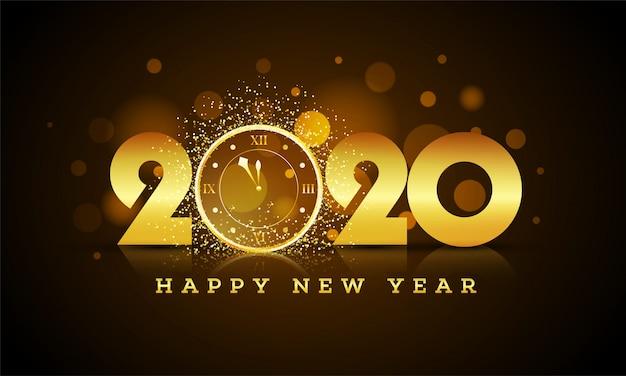 Złoty tekst 2020 z zegarem ściennym z błyszczącym efektem na brązowym bokeh na obchody szczęśliwego nowego roku. kartka z życzeniami .
