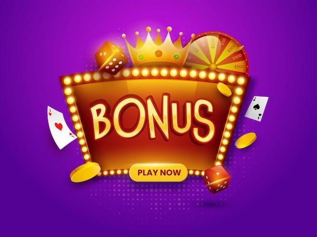 Złoty tekst bonusowy na ramce namiotu z koroną 3d, monety, kości, karty do gry i koło fortuny na fioletowym tle efektu półtonów.