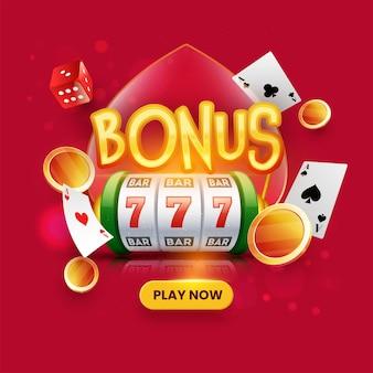 Złoty tekst bonusowy z automatem 3d, monetami, kartami do gry i kostkami na czerwonym tle bokeh.