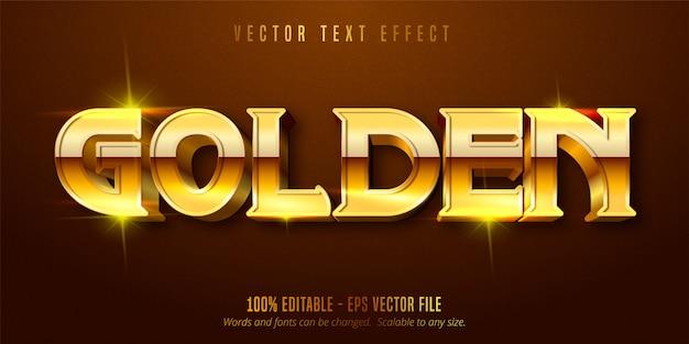 Złoty tekst, efekt edytowalnego tekstu w stylu błyszczącego złota