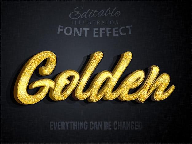 Złoty tekst, efekt edytowalnej czcionki