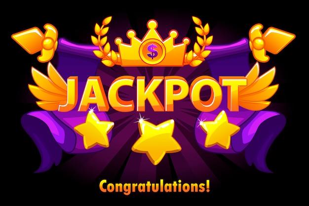Złoty tekst jackpot z gwiazdami i koroną na fioletowym tle. zwycięzca głównej nagrody kasyna z włóczniami i skrzydłami. obiekty na osobnych warstwach.