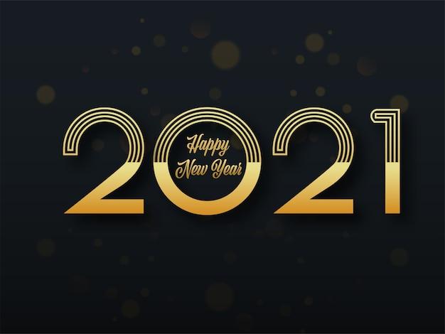 Złoty tekst szczęśliwego nowego roku 2021 na czarnym tle