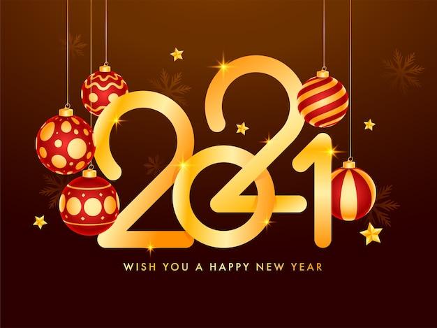 Złoty tekst szczęśliwego nowego roku 2021 z gwiazdami