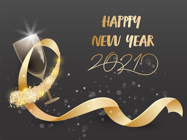 Złoty tekst szczęśliwego nowego roku 2021 z realistyczną wstążką