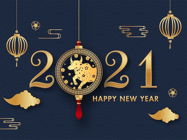 Złoty tekst szczęśliwego nowego roku 2021 z wiszącym chińskim zodiakiem wół