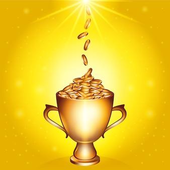 Złoty trofeum pełen złotych monet