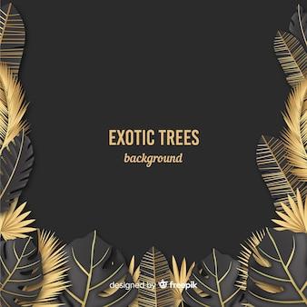 Złoty tropikalny liść tło