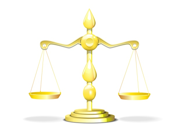 Złoty waży sprawiedliwość na białej tło ilustraci