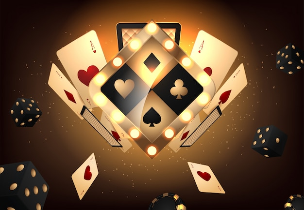 Złoty wektor kasyno vegas znak
