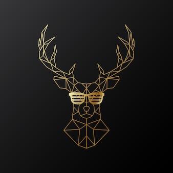 Złoty wielokątny jeleń w okularach