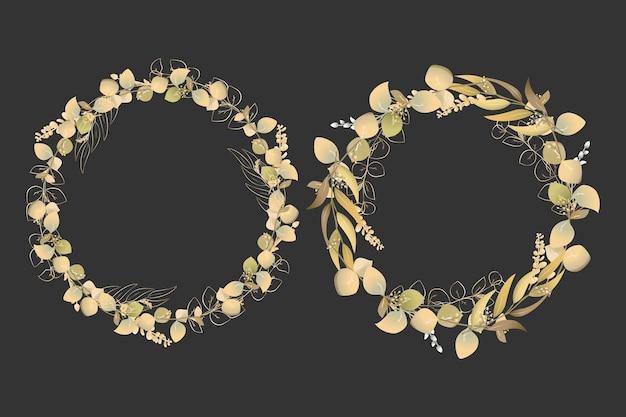 Złoty wieniec kwiatowy tło ramki