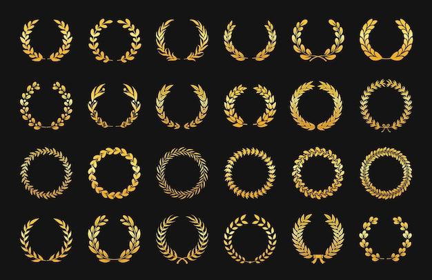 Złoty wieniec laurowy antyczne emblematy gałązką oliwną, foliowy ornament logo zwycięstwa