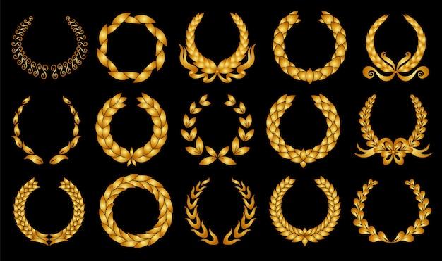 Złoty wieniec laurowy. zbiór różnych okrągłych laurów.