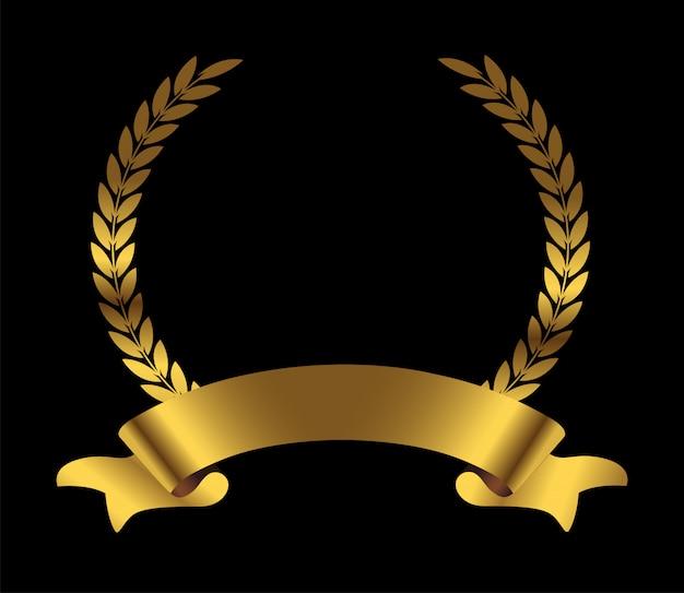 Złoty wieniec laurowy ze wstążką