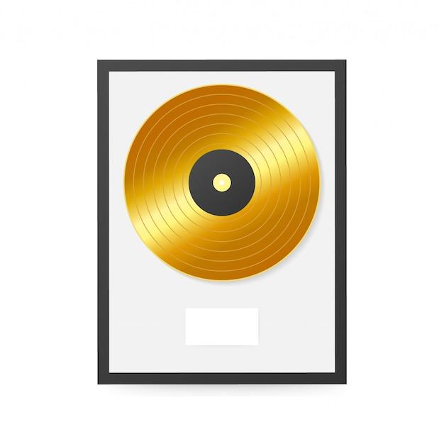Złoty winyl w ramce na ścianie. dysk kolekcji