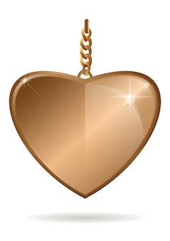 Złoty wisiorek w kształcie serca na złotym łańcuszku. ilustracja