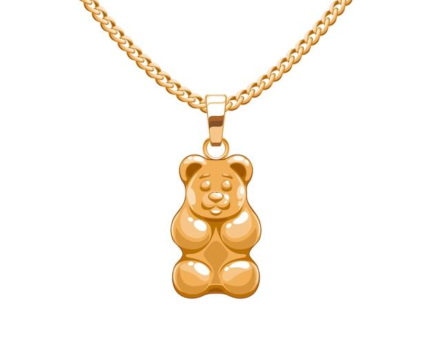 Złoty wisiorek z gumowym misiem na łańcuszku. biżuteria.