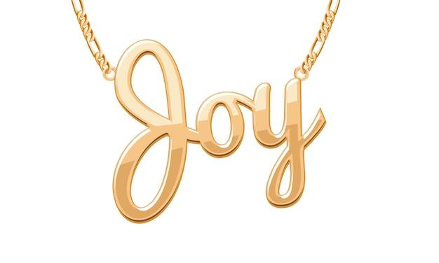 Złoty wisiorek z napisem joy na łańcuszku. biżuteria.