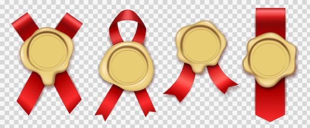 Złoty wosk. czerwone wstążki z oryginalną gumową woskowaną kopertą na świece vintage pieczęć zestaw pieczęci królewskiej poczty