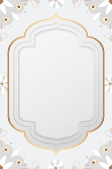 Złoty wzór mandali rama szary botaniczny w stylu indyjskim