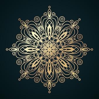 Złoty wzór mandali z motywami marokańskimi lub islamskimi