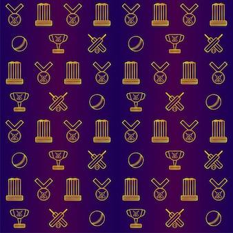 Złoty wzór sprzęt krykieta na fioletowym tle gradientu.