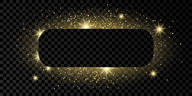 Złoty zaokrąglony prostokąt rama z brokatem, błyszczy i flary na ciemnym przezroczystym tle. puste luksusowe tło. ilustracja wektorowa.