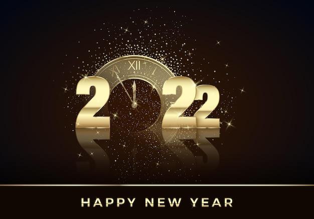 Złoty zegar zamiast zera w 2022 szczęśliwego nowego roku kartka z życzeniami świąteczne odliczanie do północy