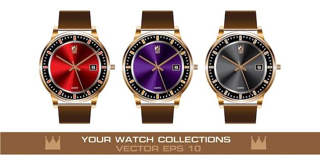 Złoty zegarek na rękę w kolorze brązowym skórzanym paskiem