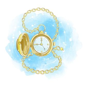 Złoty zegarek w stylu retro z otwartą pokrywą i złotym łańcuchem. vintage dżentelmen akcesoriów.