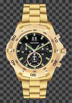 Złoty zegarek zegar chronograf luksusowy tło.