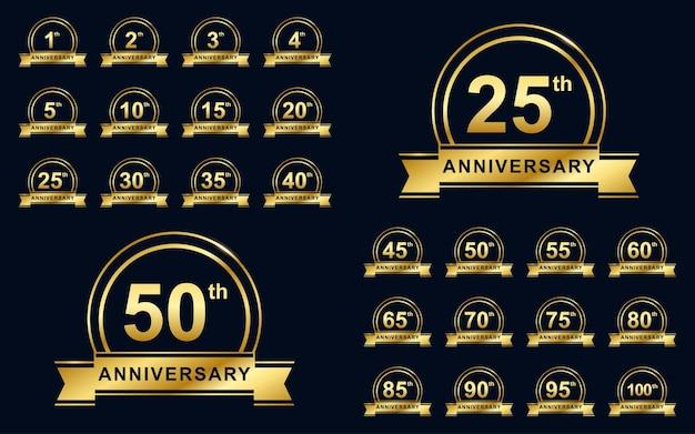 Złoty zestaw ilustracji odznaki rocznicowej