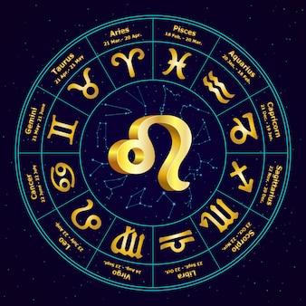 Złoty znak lwa zodiaku w okręgu