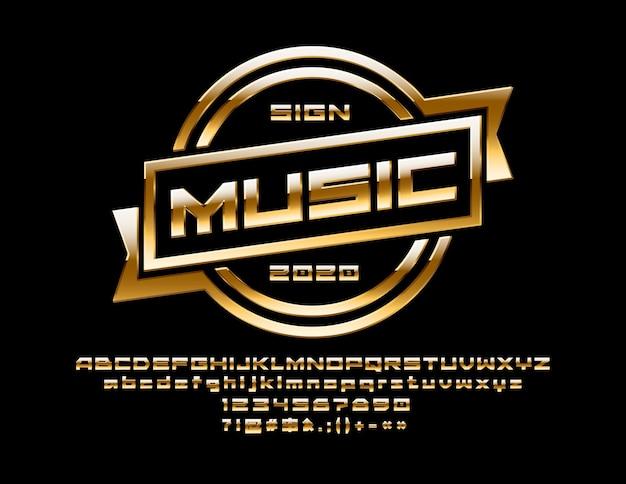 Złoty znak muzyki metalicznej czcionki gradientu ekskluzywne litery alfabetu, cyfry i symbole