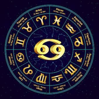 Złoty znak raka zodiaku w okręgu