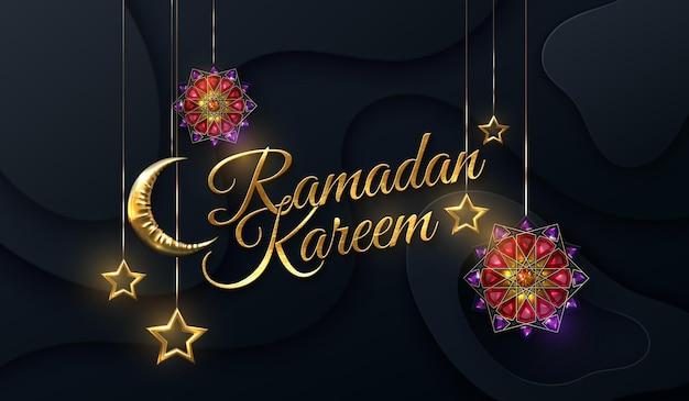 Złoty znak ramadan kareem z księżycem, gwiazdami i kwiatowymi klejnotami