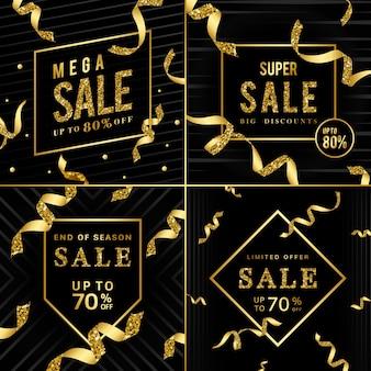 Złoty znak sprzedaży wektor zestaw