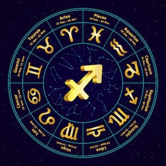 Złoty znak strzelca zodiaku w okręgu