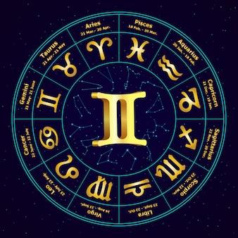 Złoty znak zodiaku bliźnięta w okręgu
